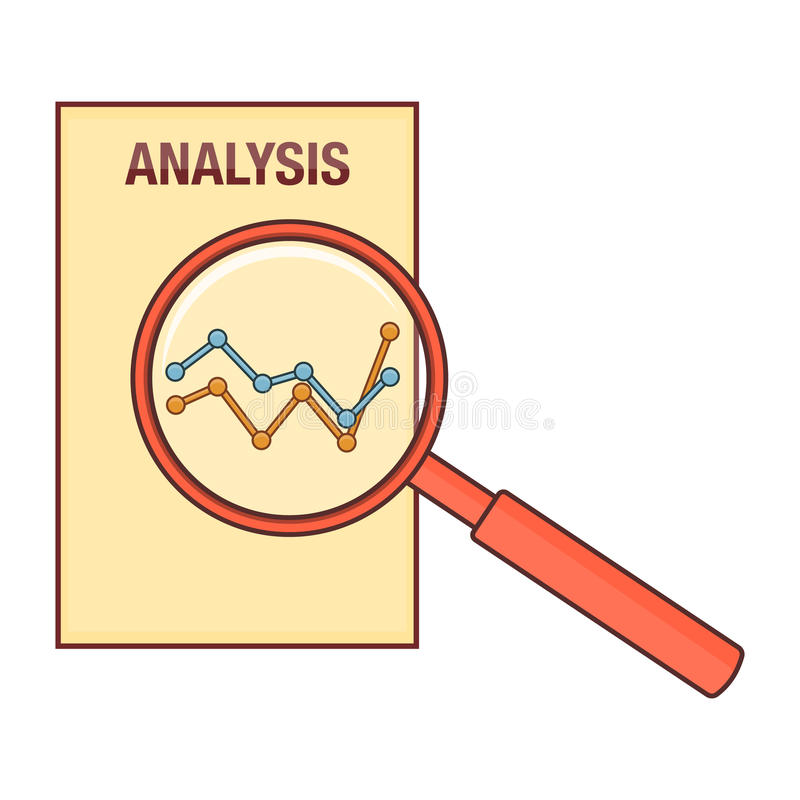 Analysis diagram magnifier, line art royalty free illustration