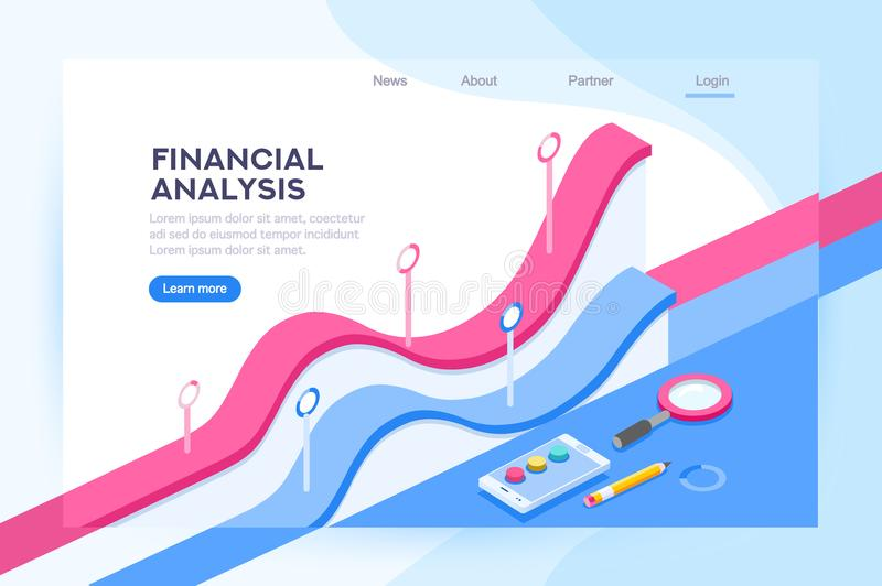 Analysis of Financial Administration Concept. Financial administration concept. Consulting for company performance, analysis concept. Statistics and business royalty free illustration