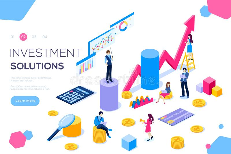 Analysis of sales, statistic grow. Data, accounting infographic illustration. Bank development economics strategy. Commerce solutions for investments, analysis vector illustration