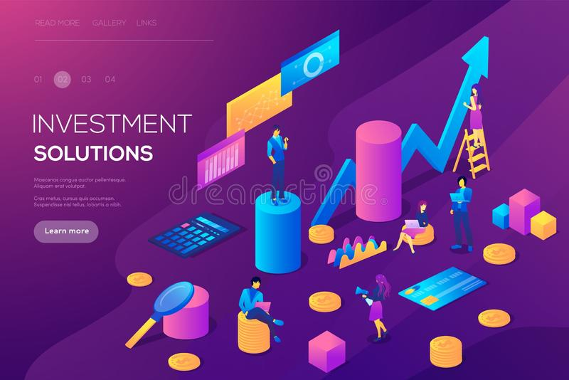 Analysis of sales, statistic grow. Data, accounting infographic illustration. Bank development economics strategy. Commerce solutions for investments, analysis royalty free illustration