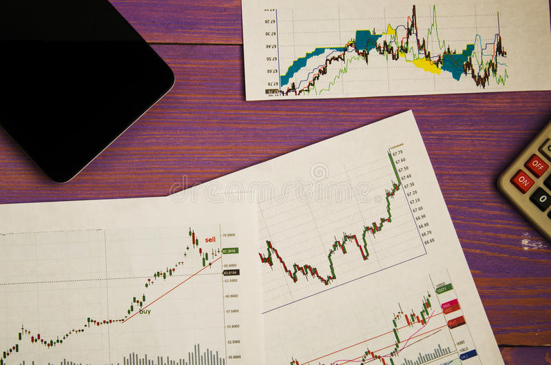 Analysis of stock exchange trading schedules.  royalty free stock image