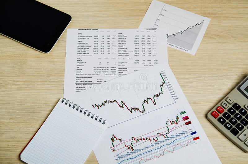 Analysis of stock exchange trading schedules.  royalty free stock images