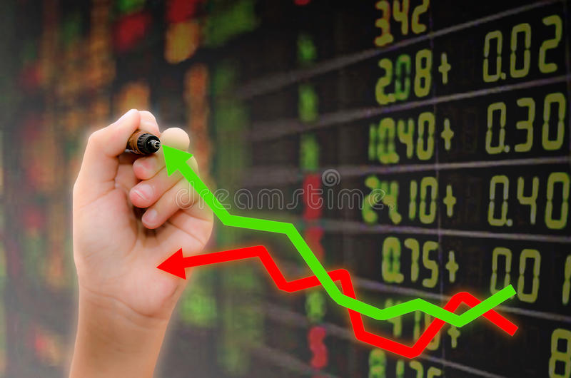 Analysis of stock market. Graphs royalty free stock photography