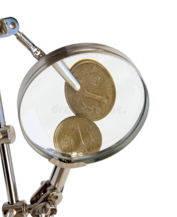 Vintage spanish coins. Analysis of vintage spanish coins stock photography