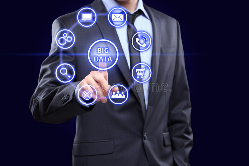 Analyst click on button with text data mining. royalty free stock photography