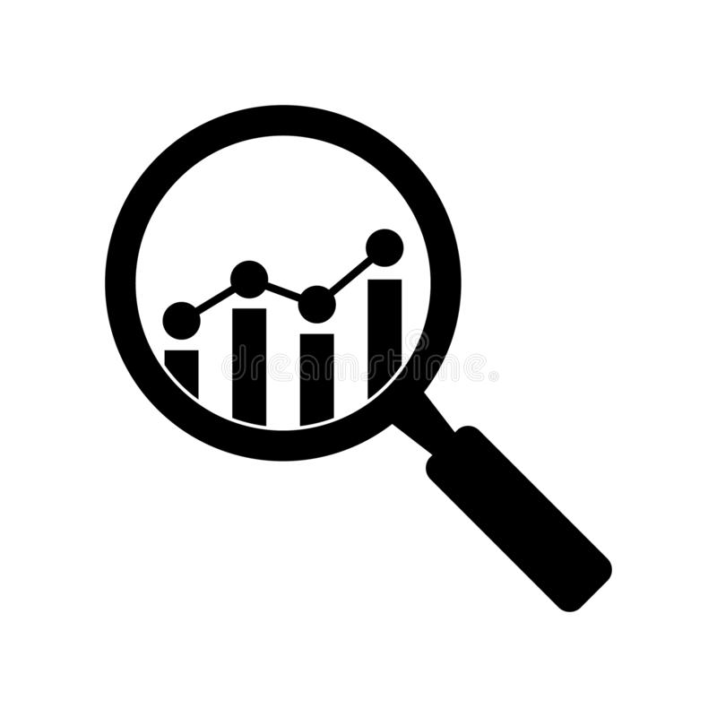 Analytic vector icon - magnifying glass with bar chart. Vector illustration on white background vector illustration