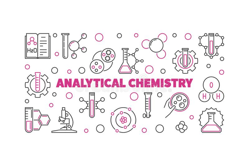Analytical Chemistry outline illustration. Vector linear banner stock illustration