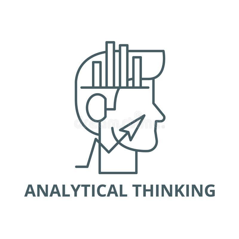 Analytical główkowania linii ikona, wektor Analytical główkowania konturu znak, pojęcie symbol, płaska ilustracja ilustracja wektor