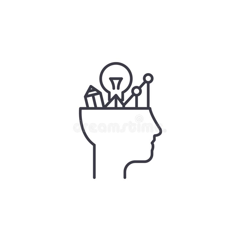 Analytical thinking linear icon concept. Analytical thinking line vector sign, symbol, illustration. royalty free illustration