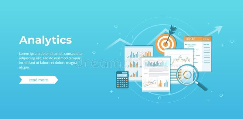 Analytics επιχειρησιακών οικονομικό στοιχείων Ανάλυση, στατιστικές, έκθεση ελεγκτή Έγγραφα με τη γραφική παράσταση, διαγράμματα διανυσματική απεικόνιση
