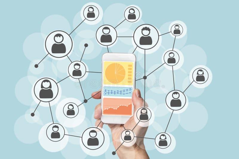 Analytics και επιστήμη στοιχείων των κοινωνικών δικτύων με την κινητή συσκευή διανυσματική απεικόνιση