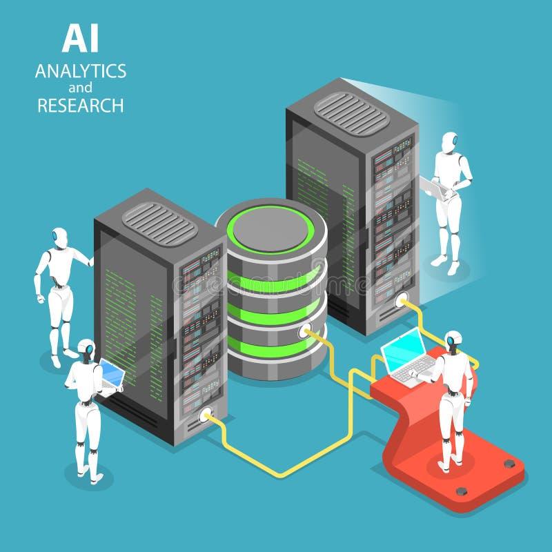 Analytics τεχνητής νοημοσύνης και ερευνητική isometric επίπεδη διανυσματική έννοια ελεύθερη απεικόνιση δικαιώματος