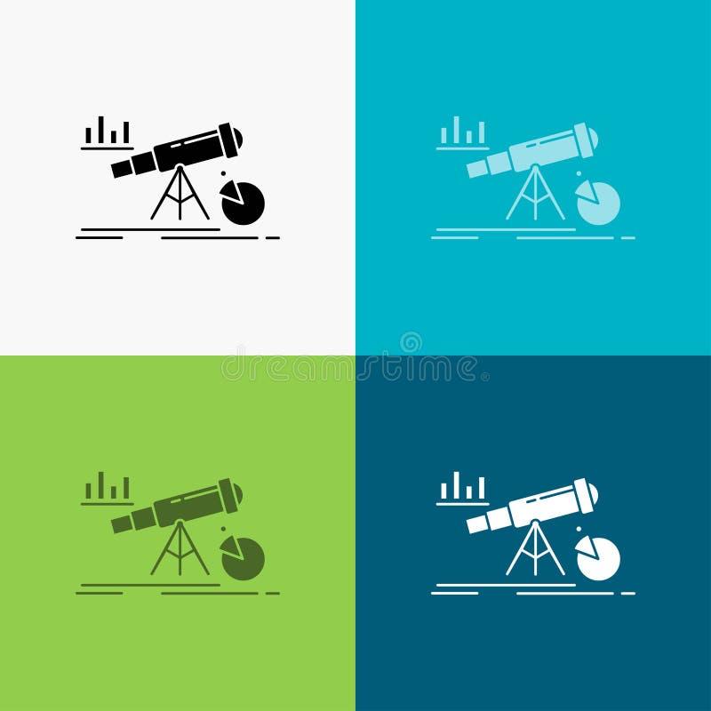 Analytics, χρηματοδότηση, πρόβλεψη, αγορά, εικονίδιο πρόβλεψης πέρα από το διάφορο υπόβαθρο glyph σχέδιο ύφους, που σχεδιάζεται γ απεικόνιση αποθεμάτων