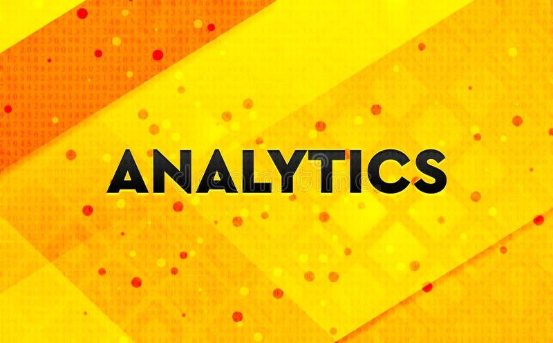 Analytics abstract digital banner yellow background. Analytics isolated on abstract digital banner yellow background stock illustration