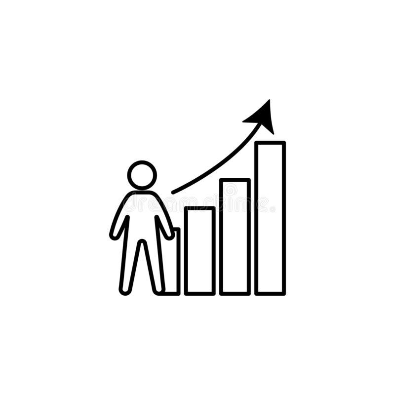 Analytics, arbeider, de groeipictogram op witte achtergrond Kan voor Web, embleem, mobiele toepassing, UI, UX worden gebruikt stock illustratie