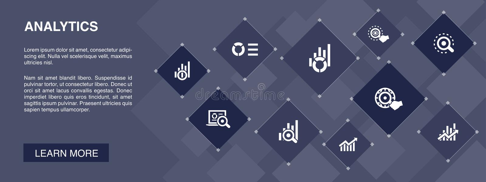 Analytics banner 10 icons concept.linear. Graph, web research, trend, monitoring simple icons stock illustration