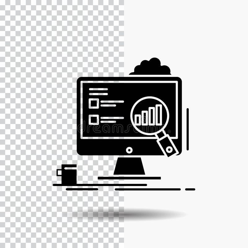 analytics bräde, presentation, bärbar dator, statistikskårasymbol på genomskinlig bakgrund Svart symbol vektor illustrationer
