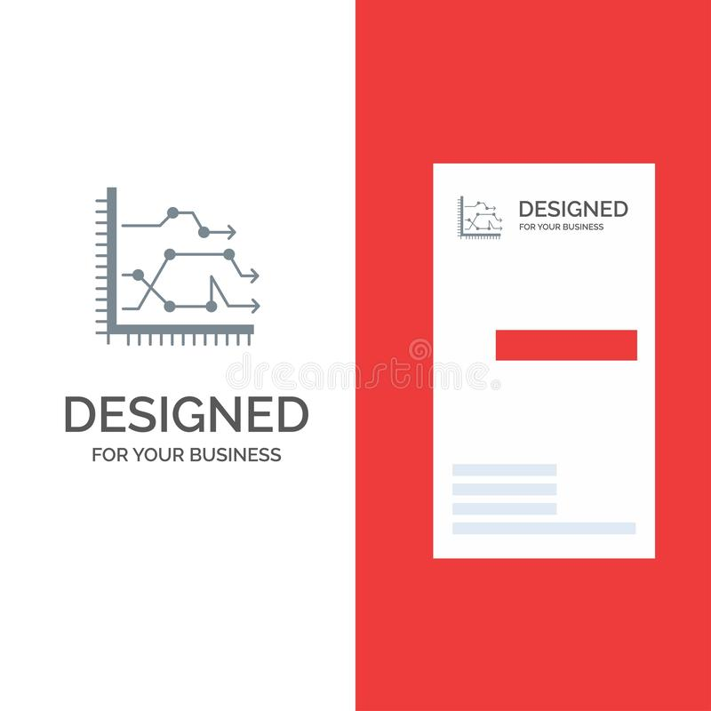 Analytics, Business, Chart, Diagram, Graph, Trends Grey Logo Design and Business Card Template royalty free illustration