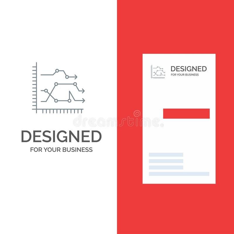 Analytics, Business, Chart, Diagram, Graph, Trends Grey Logo Design and Business Card Template vector illustration