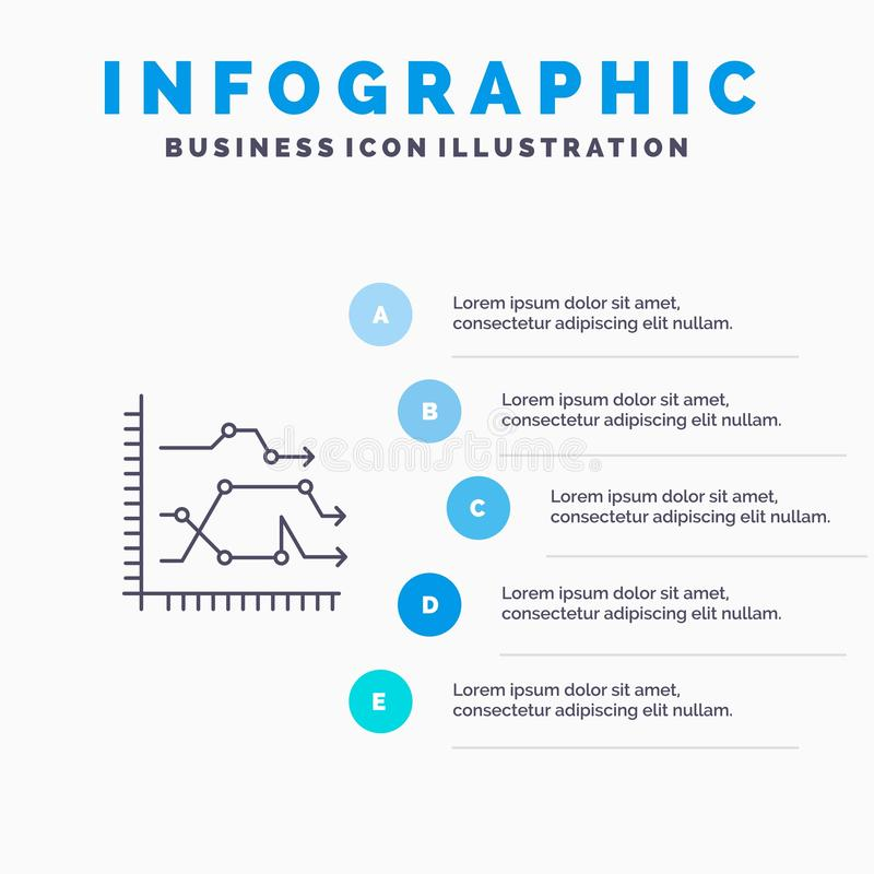 Analytics, Business, Chart, Diagram, Graph, Trends Line icon with 5 steps presentation infographics Background vector illustration