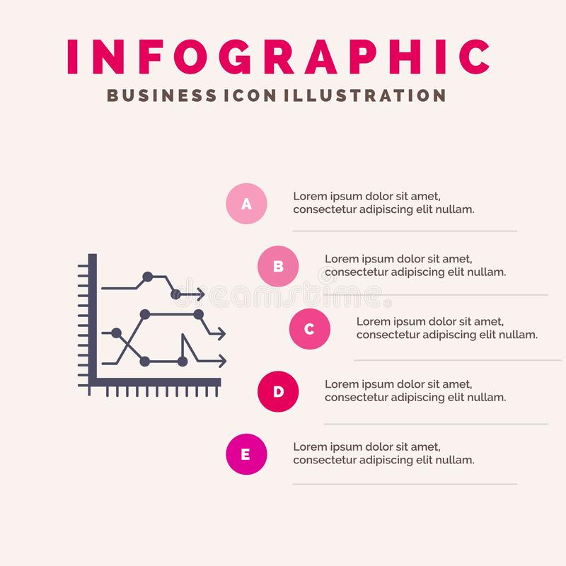 Analytics, Business, Chart, Diagram, Graph, Trends Solid Icon Infographics 5 Steps Presentation Background vector illustration