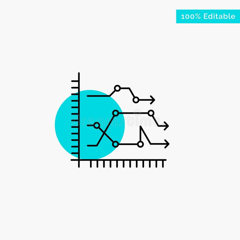 Analytics, Business, Chart, Diagram, Graph, Trends turquoise highlight circle point Vector icon royalty free illustration