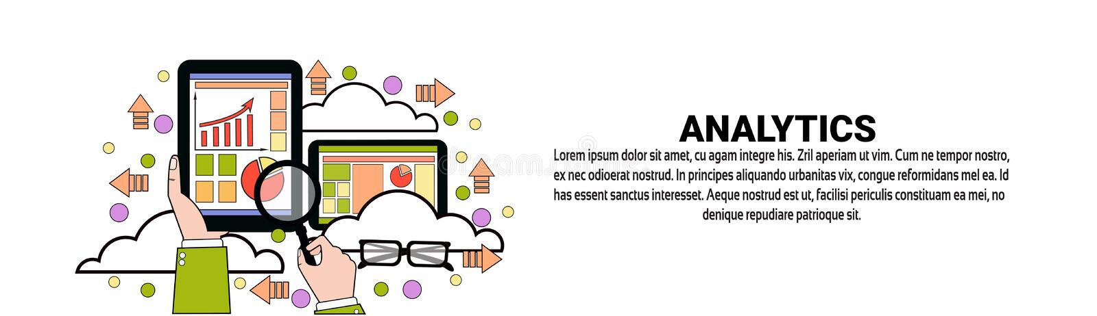 Analytics Business Data Analysis Horizontal Banner With Copy Space. Flat Vector Illustration royalty free illustration
