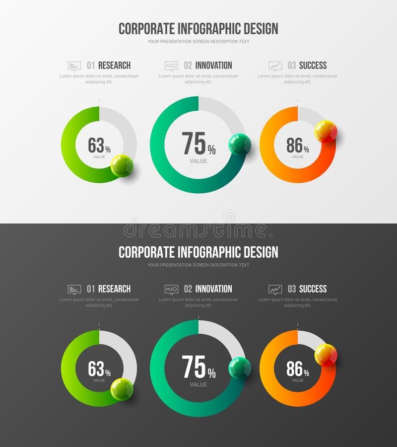 Analytics business data report 3 element radial bar visualization design layout bundle. Marketing analytics presentation vector illustration template bundle royalty free illustration