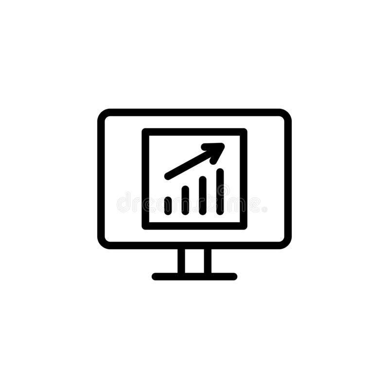 analytics, business, monitor icon. Simple thin line, outline vector of Project Management icons for UI and UX, website or mobile stock illustration