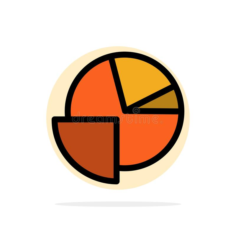 Analytics, Chart, Pie, Graph Abstract Circle Background Flat color Icon stock illustration