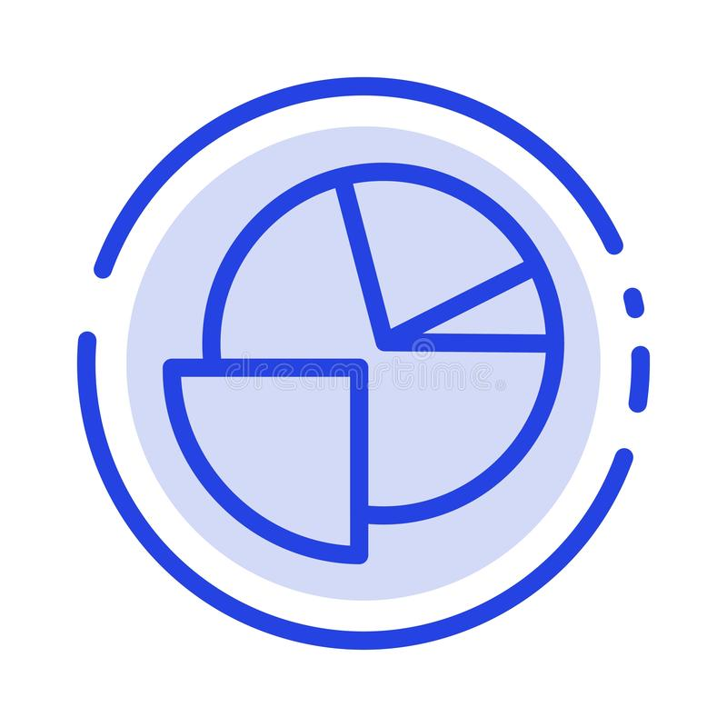 Analytics, Chart, Pie, Graph Blue Dotted Line Line Icon vector illustration