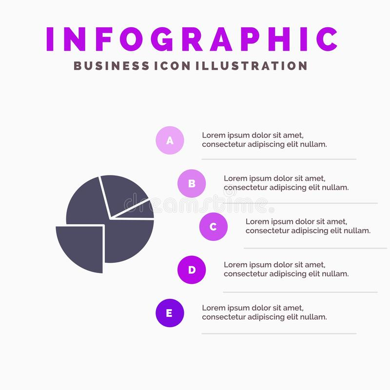 Analytics, Chart, Pie, Graph Solid Icon Infographics 5 Steps Presentation Background vector illustration