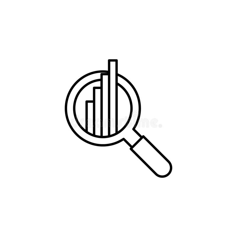 Analytics chart search outline icon. Element of finance illustration icon. signs, symbols can be used for web, logo, mobile app, royalty free illustration