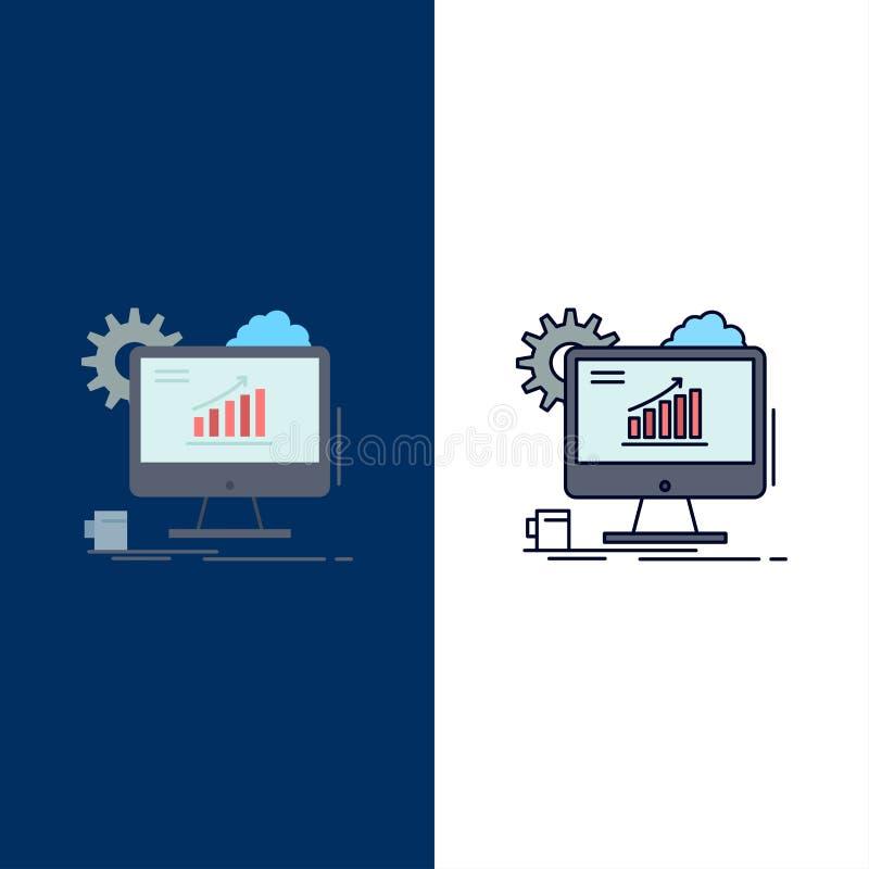 Analytics, chart, seo, web, Setting Flat Color Icon Vector stock illustration