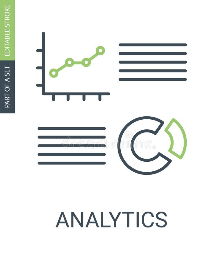 Analytics charts icon with outline style and editable stroke royalty free illustration