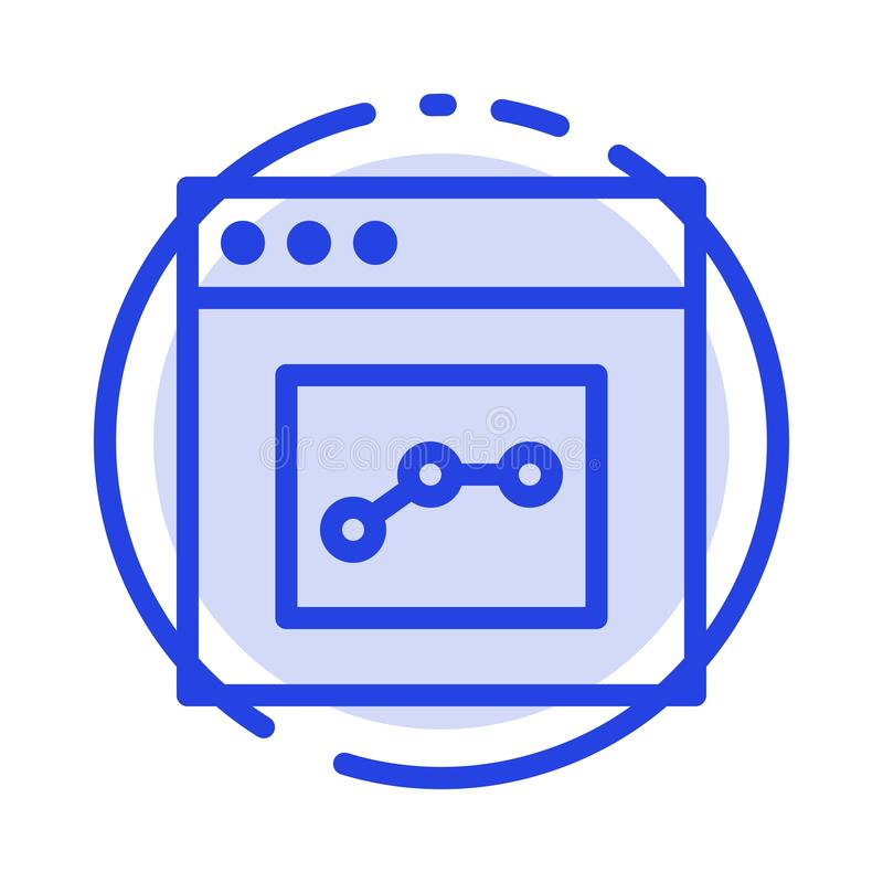 Analytics, Communication, Interface, User Blue Dotted Line Line Icon vector illustration