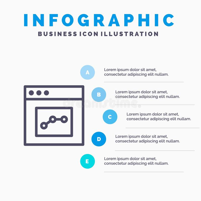 Analytics, Communication, Interface, User Line icon with 5 steps presentation infographics Background stock illustration