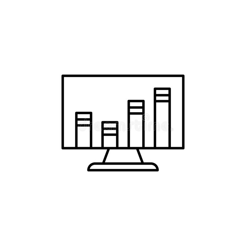 Analytics computer outline icon. Element of finance illustration icon. signs, symbols can be used for web, logo, mobile app, UI,. UX on white background vector illustration