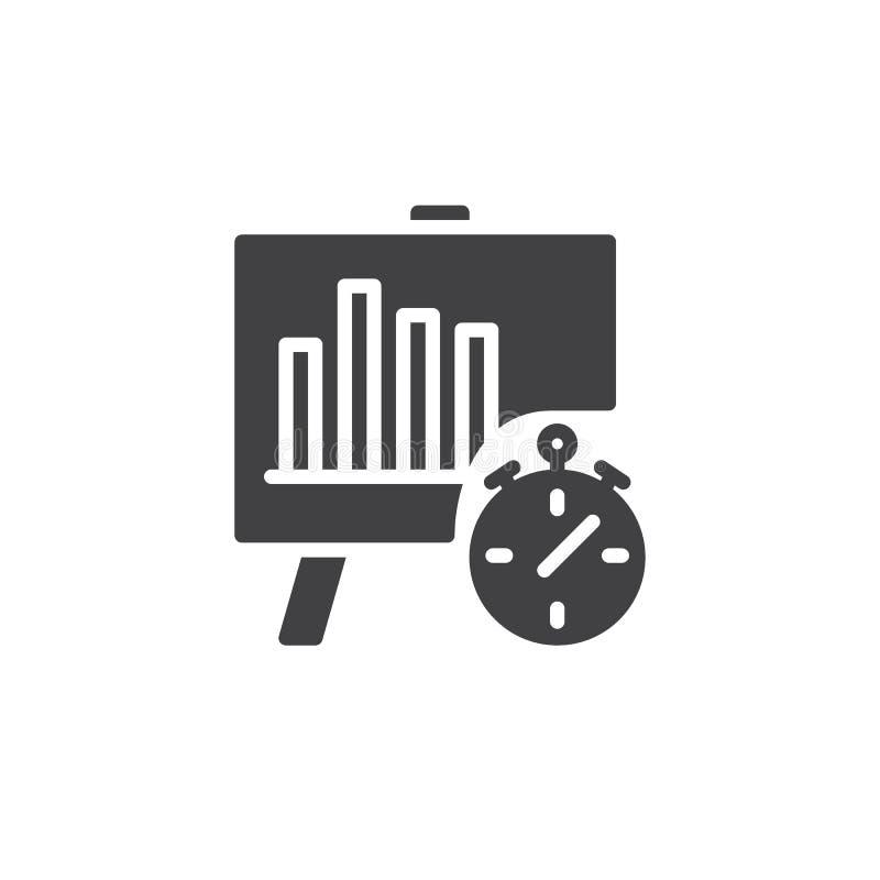 Analytics con vector del gráfico de negocio y del icono del cronómetro ilustración del vector