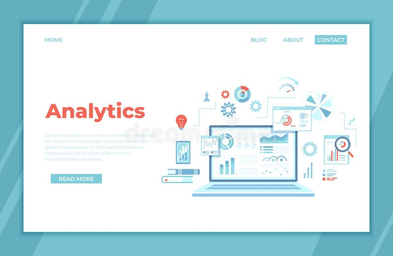 Analytics concept, Analysis, Analyzing, Data processing, Success strategy. Laptop with graphs and charts and Infographic Elements stock illustration