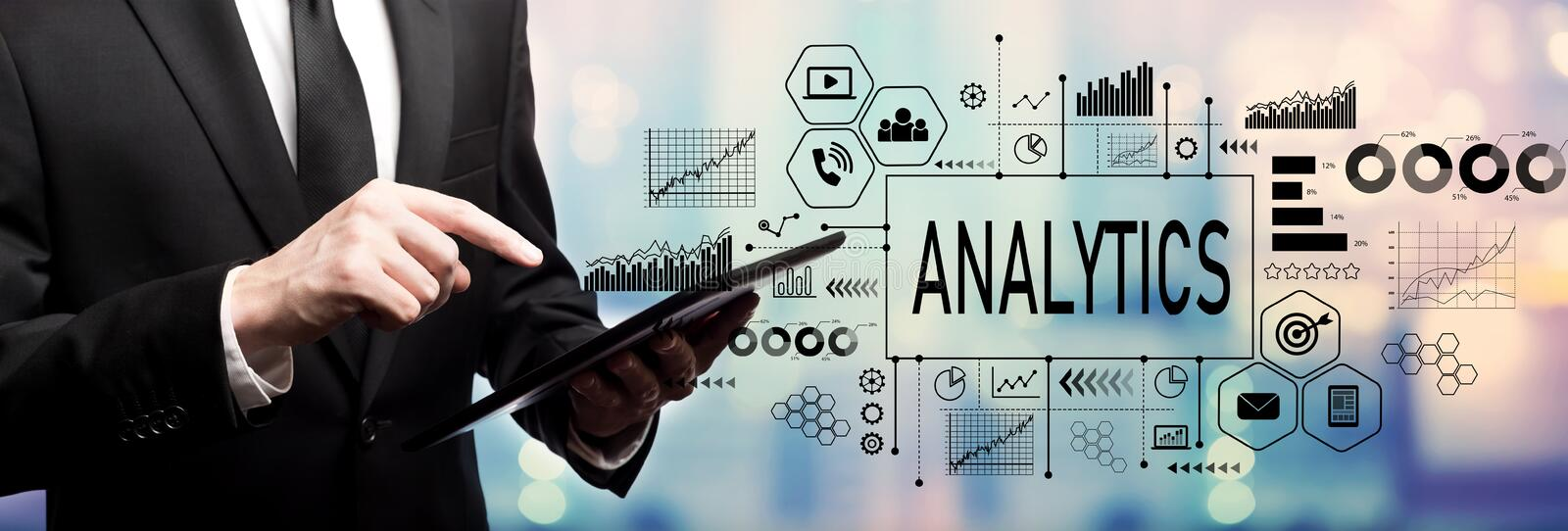 Analytics concept with businessman stock images