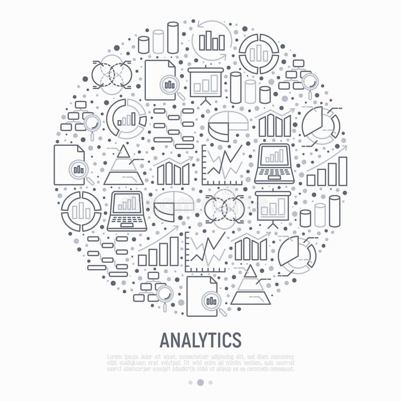 Analytics concept in circle with thin line icons stock illustration