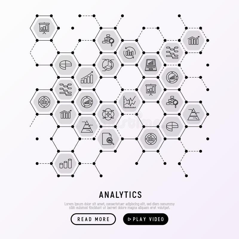Analytics concept in honeycombs stock illustration