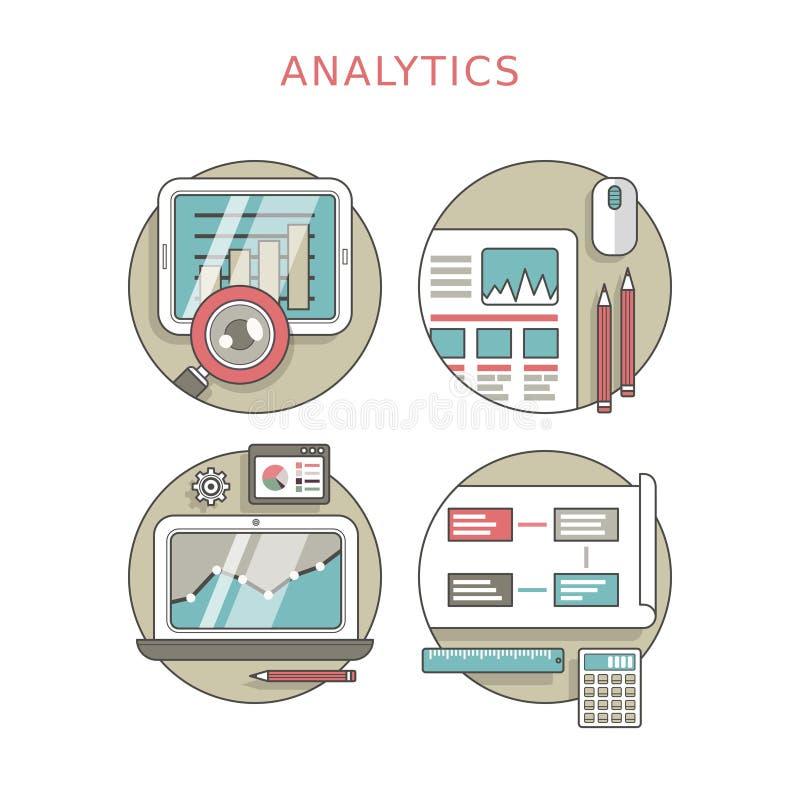 Analytics concept set. In thin line style stock illustration