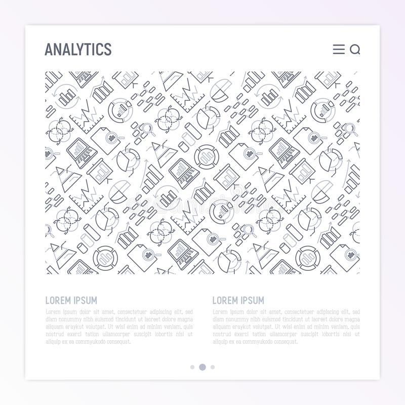 Analytics concept with thin line icons royalty free illustration