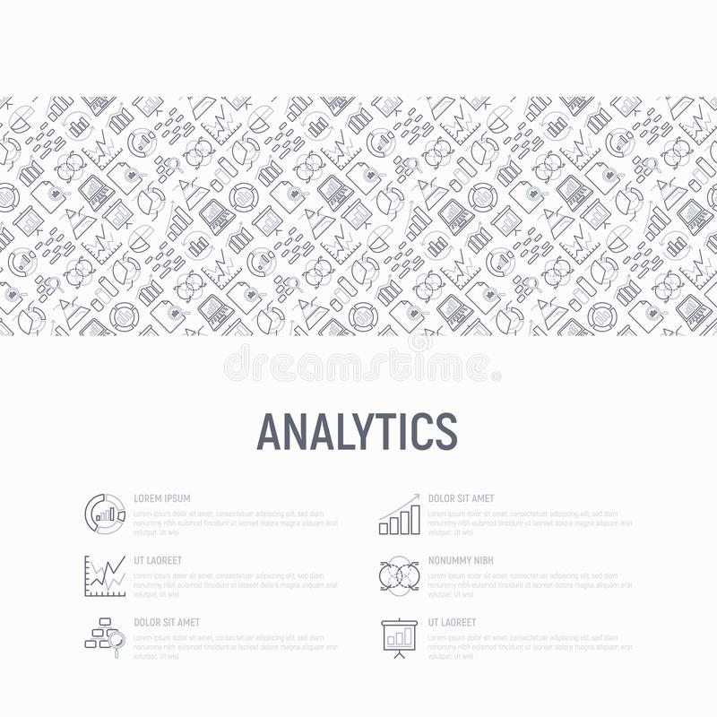 Analytics concept with thin line icons vector illustration