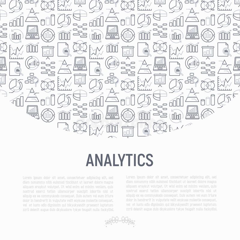 Analytics concept with thin line icons stock illustration