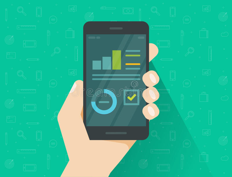 Analytics data on mobile phone screen vector illustration, flat cartoon style statistics information research results on royalty free illustration