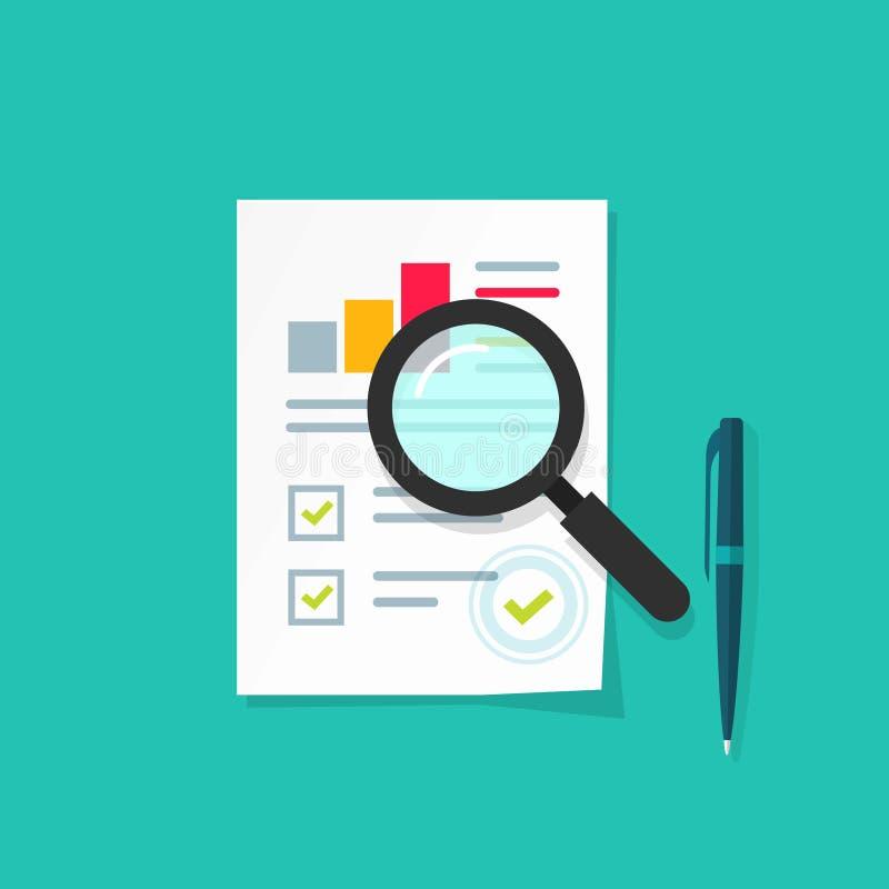 Analytics data research icon vector, analysis paper sheet document statistics stock illustration
