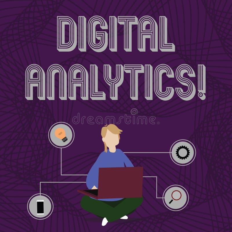 Analytics de Digital des textes d'écriture de Word Concept d'affaires pour l'analyse de la femme qualitative et quantitative de d illustration libre de droits